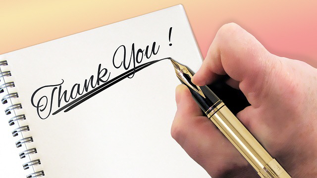 Testimonials - hand writes 'Thank You'